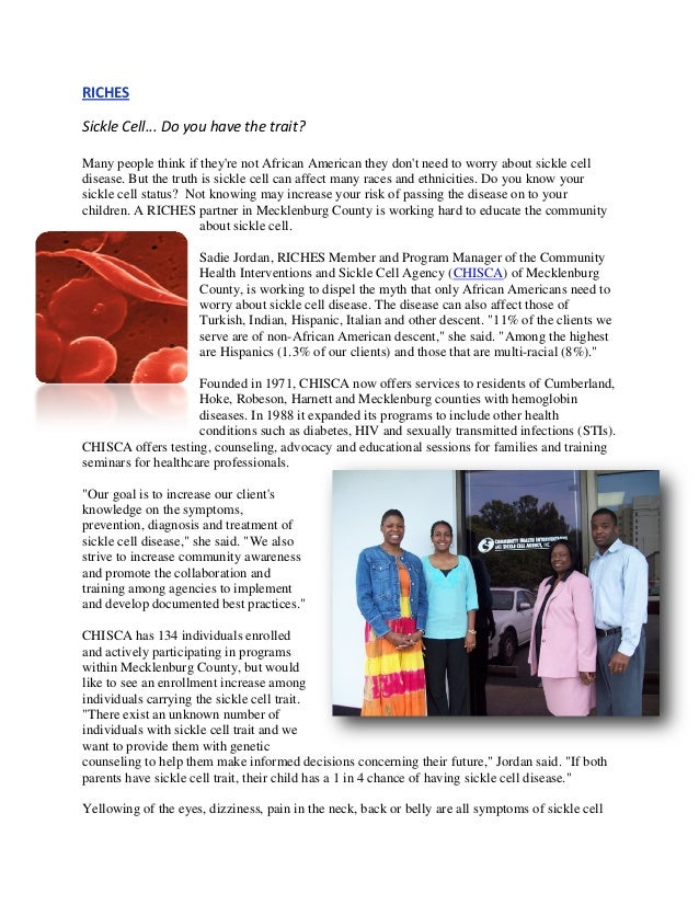 RICHES SickleCell...Doyouhavethetrait? Many people think if they're not African American they don't need to worry...