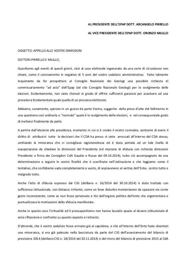 AL PRESIDENTE DELL'EPAP DOTT. ARCANGELO PIRRELLO AL VICE PRESIDENTE DELL'EPAP DOTT. ORONZO MILILLO OGGETTO: APPELLO ALLE V...
