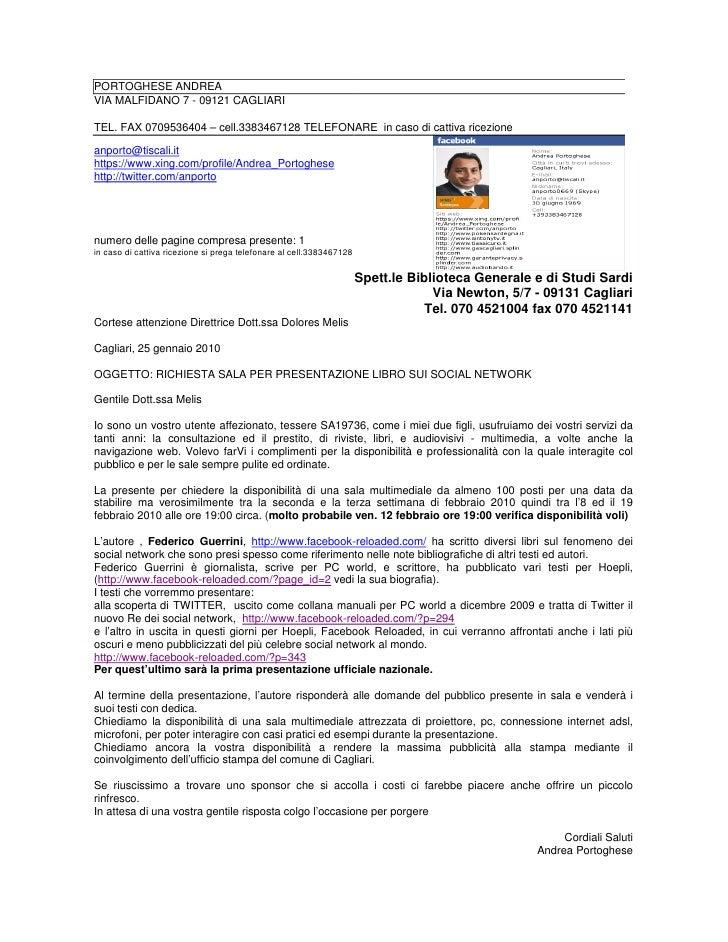 PORTOGHESE ANDREA VIA MALFIDANO 7 - 09121 CAGLIARI  TEL. FAX 0709536404 – cell.3383467128 TELEFONARE in caso di cattiva ri...