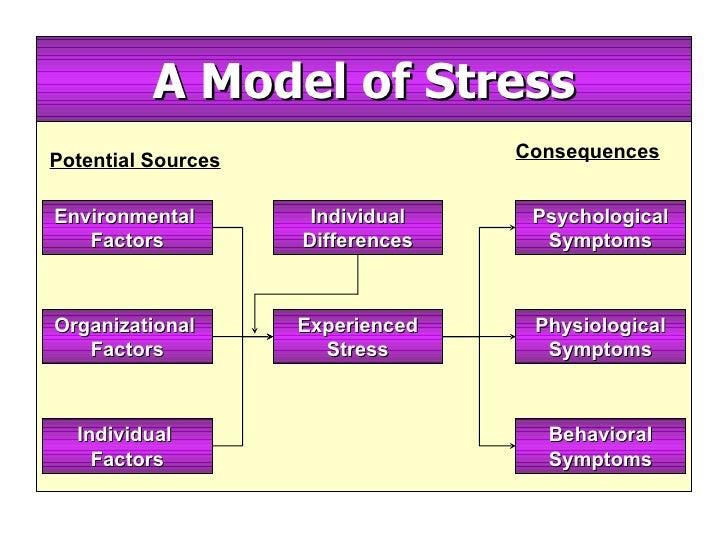 A Model of Stress Potential Sources Consequences Environmental  Factors Organizational  Factors Individual  Factors Indivi...