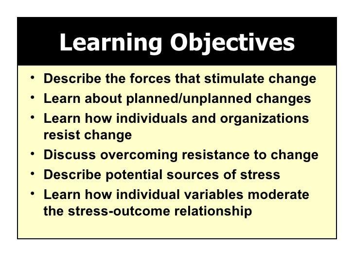 Learning Objectives <ul><li>Describe the forces that stimulate change </li></ul><ul><li>Learn about planned/unplanned chan...