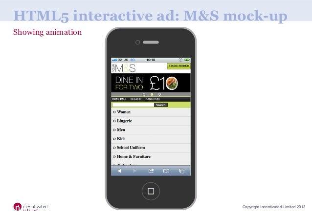 Rich media mobile advert mock ups