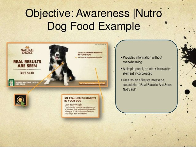Objective: Awareness  Nutro    Dog Food Example                   Provides information without                    overwhe...
