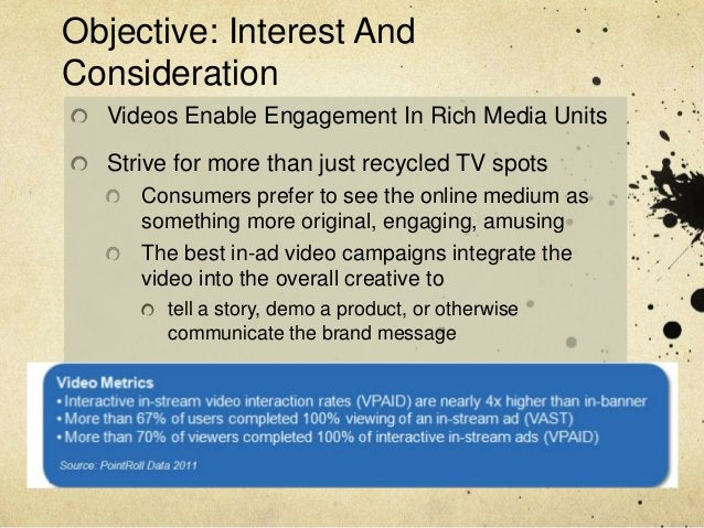 Objective: Interest AndConsideration  Videos Enable Engagement In Rich Media Units  Strive for more than just recycled TV ...