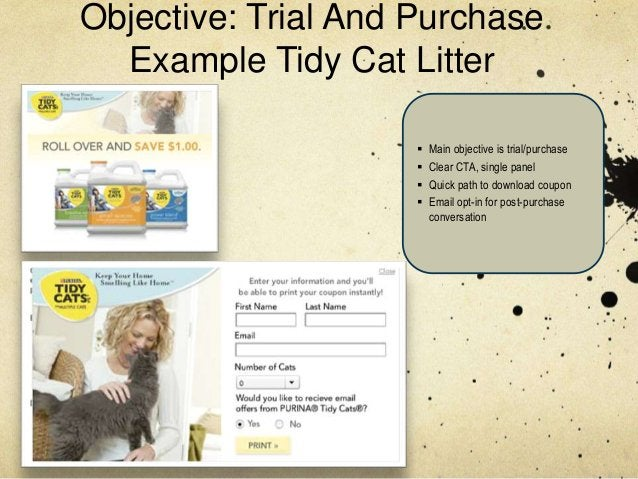 Objective: Trial And Purchase  Example Tidy Cat Litter                        Main objective is trial/purchase           ...