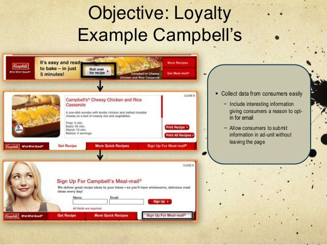 Objective: LoyaltyExample Campbell's                Collect data from consumers easily                  − Include interes...