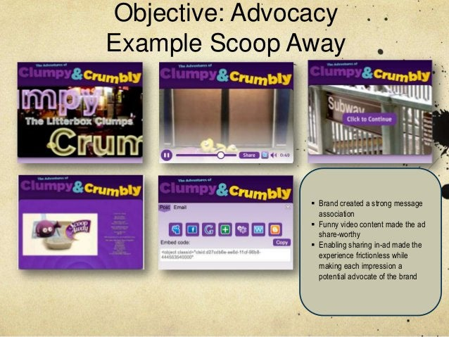 Objective: AdvocacyExample Scoop Away                 Brand created a strong message                  association        ...