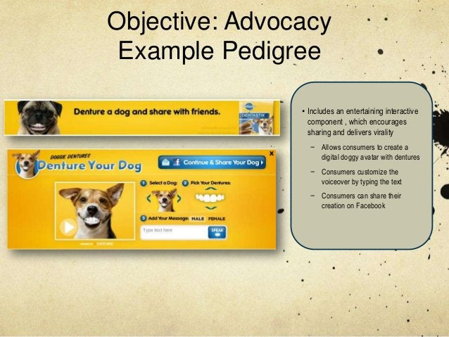 Objective: Advocacy Example Pedigree                • Includes an entertaining interactive                  component , wh...