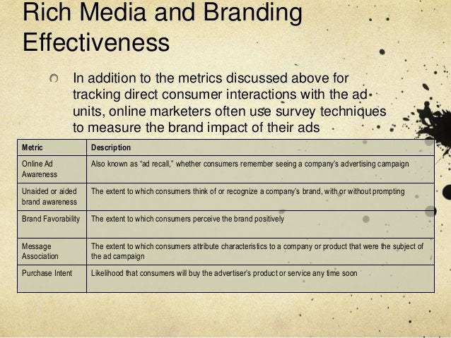 Rich Media and BrandingEffectiveness                  In addition to the metrics discussed above for                  trac...