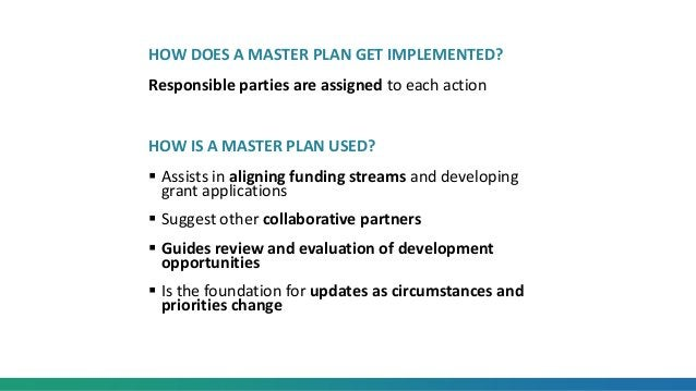 HOW DOES A MASTER PLAN GET IMPLEMENTED? Responsible parties are assigned to each action HOW IS A MASTER PLAN USED?  Assis...