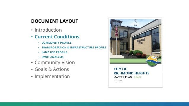 DOCUMENT LAYOUT • Introduction • Current Conditions • COMMUNITY PROFILE • TRANSPORTATION & INFRASTRUCTURE PROFILE • LAND U...