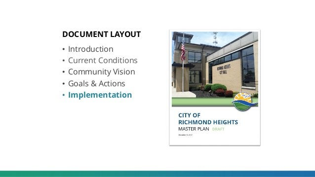 DOCUMENT LAYOUT • Introduction • Current Conditions • Community Vision • Goals & Actions • Implementation