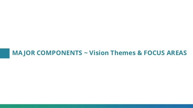 MAJOR COMPONENTS ~ Vision Themes & FOCUS AREAS