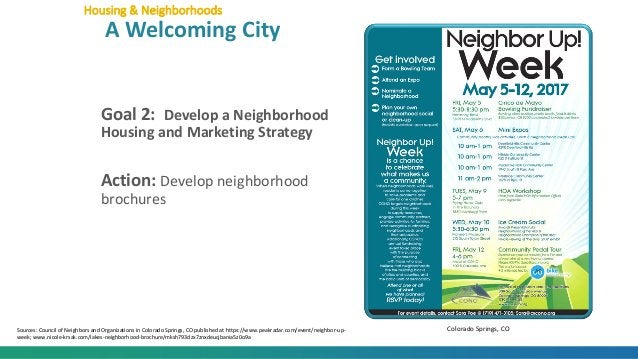 Goal 2: Develop a Neighborhood Housing and Marketing Strategy Action: Develop neighborhood brochures Housing & Neighborhoo...