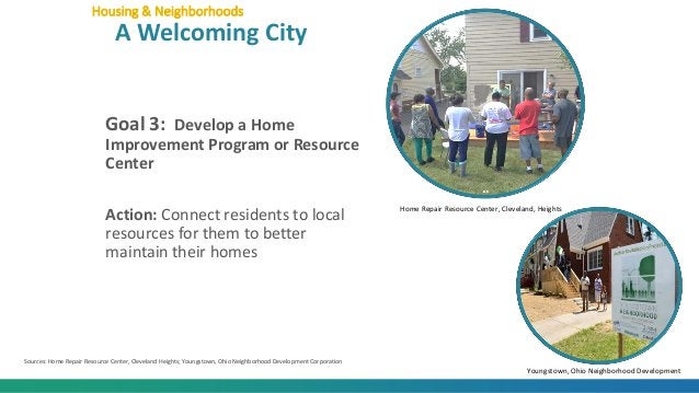 Goal 3: Develop a Home Improvement Program or Resource Center Action: Connect residents to local resources for them to bet...