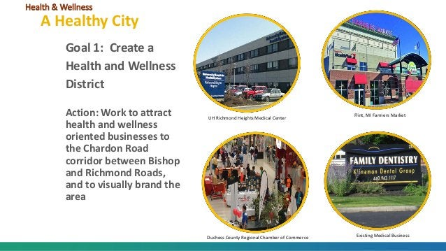 Goal 1: Create a Health and Wellness District Action: Work to attract health and wellness oriented businesses to the Chard...