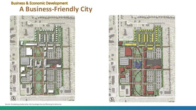 Business & Economic Development A Business-Friendly City Source: Rendering produced by the Cuyahoga County Planning Commis...