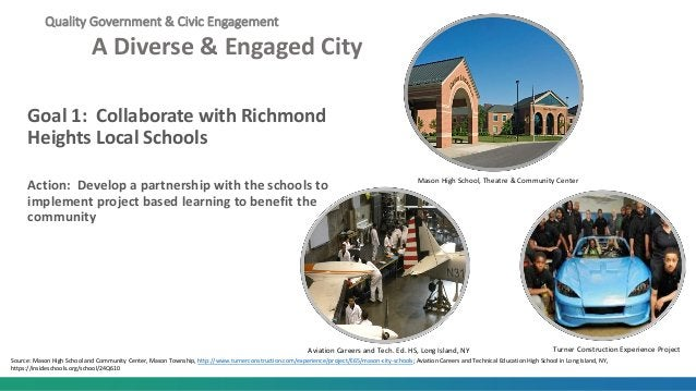 Quality Government & Civic Engagement A Diverse & Engaged City Goal 1: Collaborate with Richmond Heights Local Schools Act...
