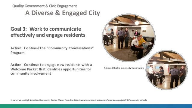 Quality Government & Civic Engagement A Diverse & Engaged City Goal 3: Work to communicate effectively and engage resident...