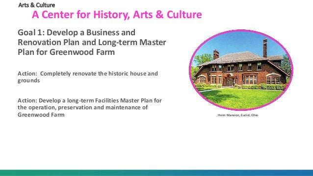 Arts & Culture A Center for History, Arts & Culture Goal 1: Develop a Business and Renovation Plan and Long-term Master Pl...