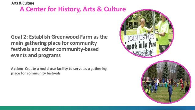 Arts & Culture A Center for History, Arts & Culture Goal 2: Establish Greenwood Farm as the main gathering place for commu...