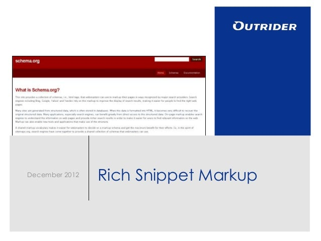 December 2012                Rich Snippet Markup