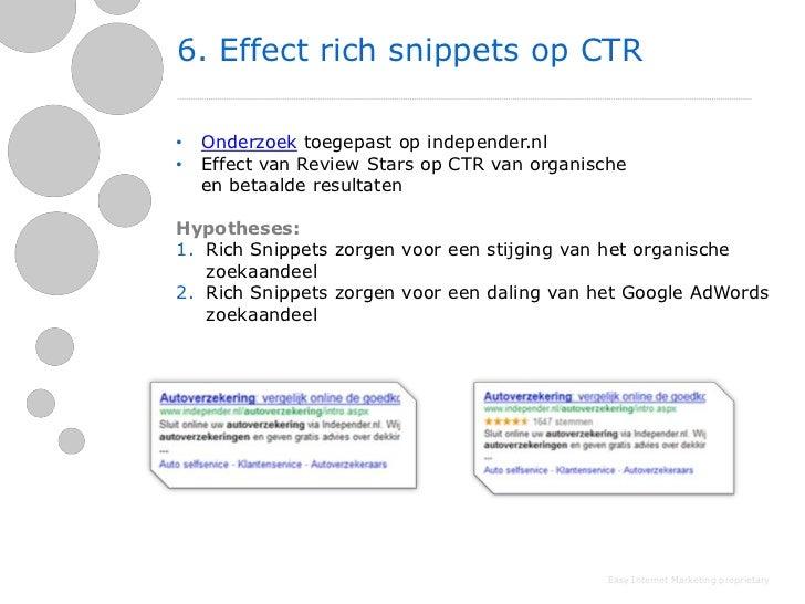 6. Effect rich snippets op CTR•   Onderzoek toegepast op independer.nl•   Effect van Review Stars op CTR van organische   ...