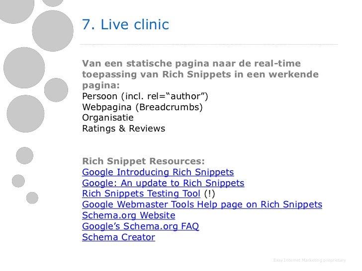 7. Live clinicVan een statische pagina naar de real-timetoepassing van Rich Snippets in een werkendepagina:Persoon (incl. ...