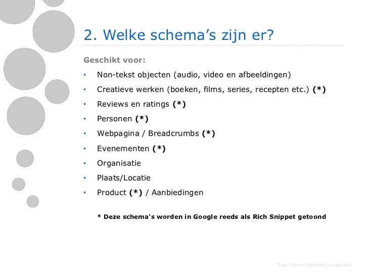 2. Welke schema's zijn er?Geschikt voor:•   Non-tekst objecten (audio, video en afbeeldingen)•   Creatieve werken (boeken,...