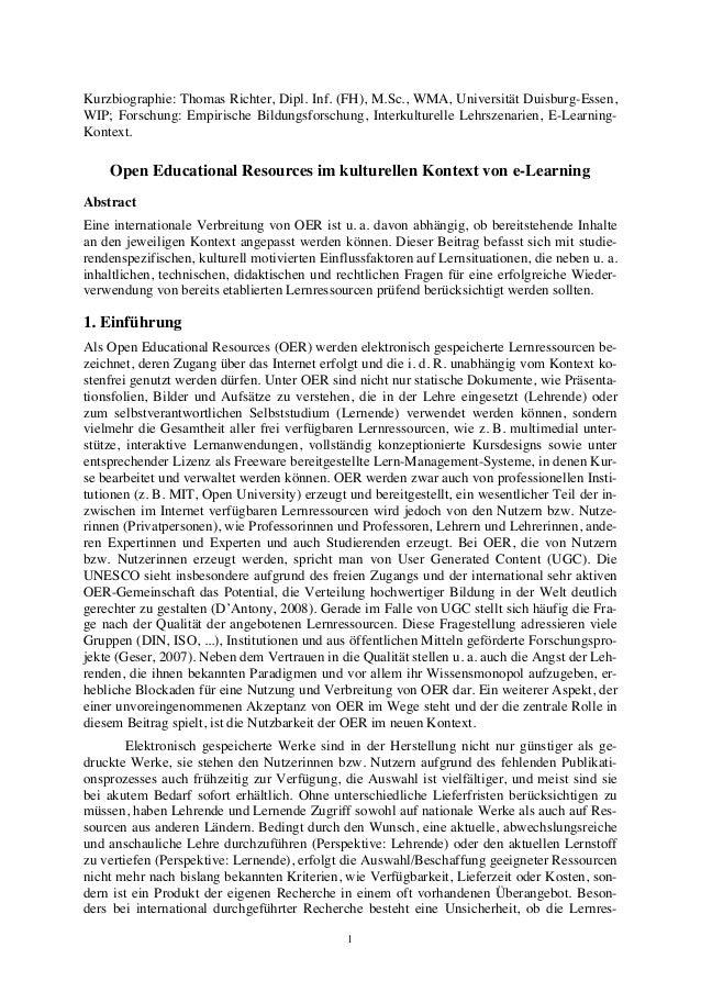 Kurzbiographie: Thomas Richter, Dipl. Inf. (FH), M.Sc., WMA, Universität Duisburg-Essen,  WIP; Forschung: Empirische Bildu...