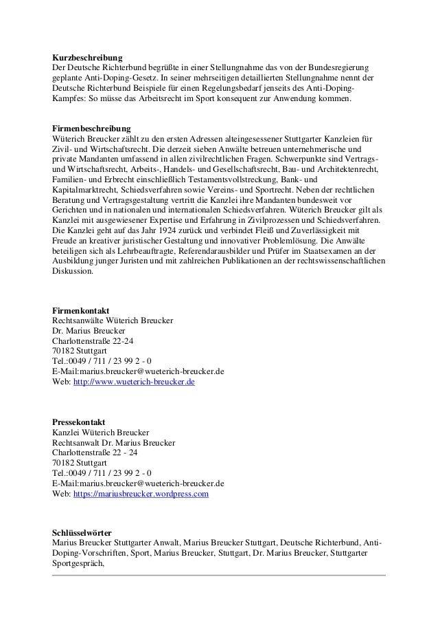 Kurzbeschreibung Der Deutsche Richterbund begrüßte in einer Stellungnahme das von der Bundesregierung geplante Anti-Doping...