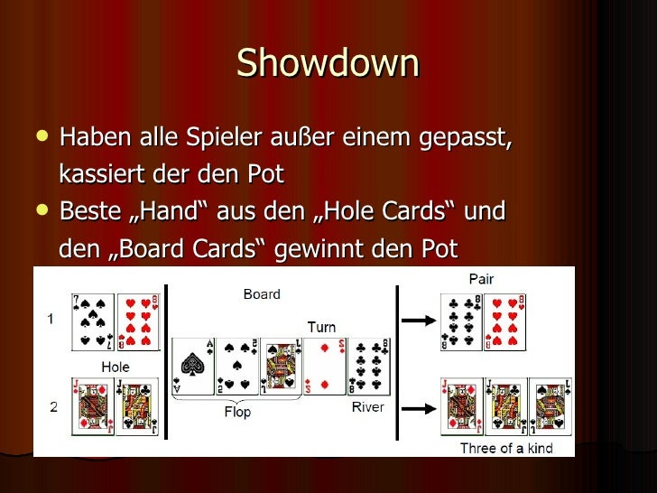 "Showdown <ul><li>Haben alle Spieler außer einem gepasst, </li></ul><ul><li>kassiert der den Pot </li></ul><ul><li>Beste ""H..."