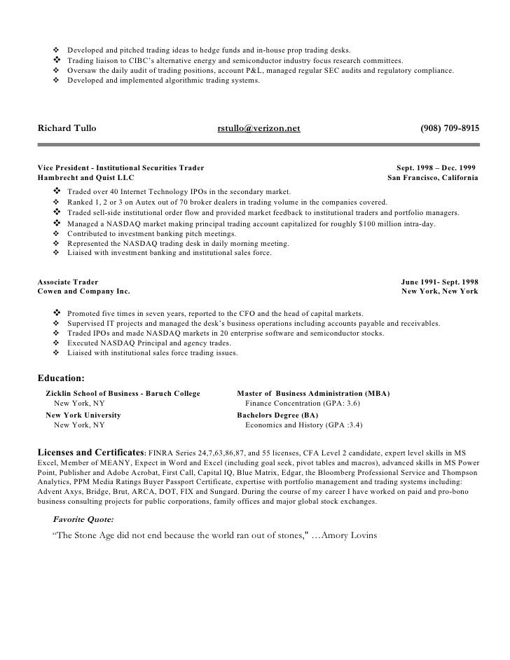 hedge fund trader resume