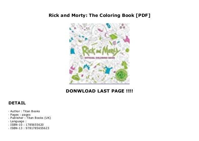 Rick And Morty The Coloring Book Pdf