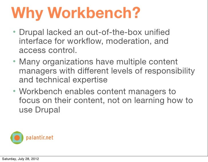 Workbench: Managing Content Management