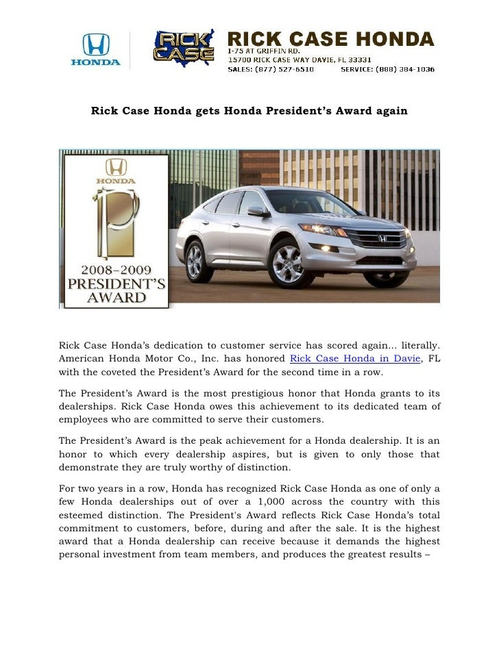 Rick Case Honda Gets Honda Presidentu0027s Award Again Rick Case Hondau0027s  Dedication To Customer Service Has ...