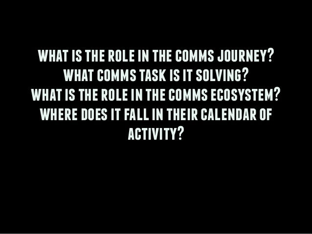 ! whatistheroleinthecommsjourney? whatcommstaskisitsolving? whatistheroleinthecommsecosystem? wheredoesitfallintheircalend...