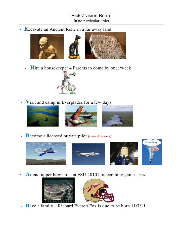 Ricks' vision Board<br />In no particular order<br />-  Excavate an Ancient Relic in a far away land<br /><ul><li>