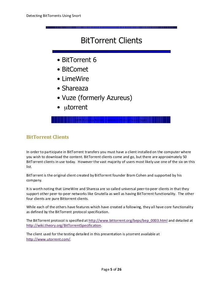 Detecting Bittorrents Using Snort
