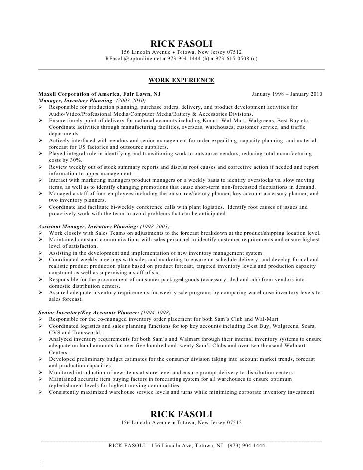 ricky fasoli resume jan 2010