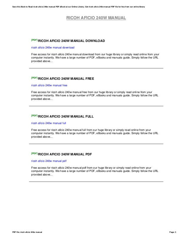 ricoh aficio 240w manual rh slideshare net ricoh aficio 240w maintenance manual ricoh aficio 240w manual pdf