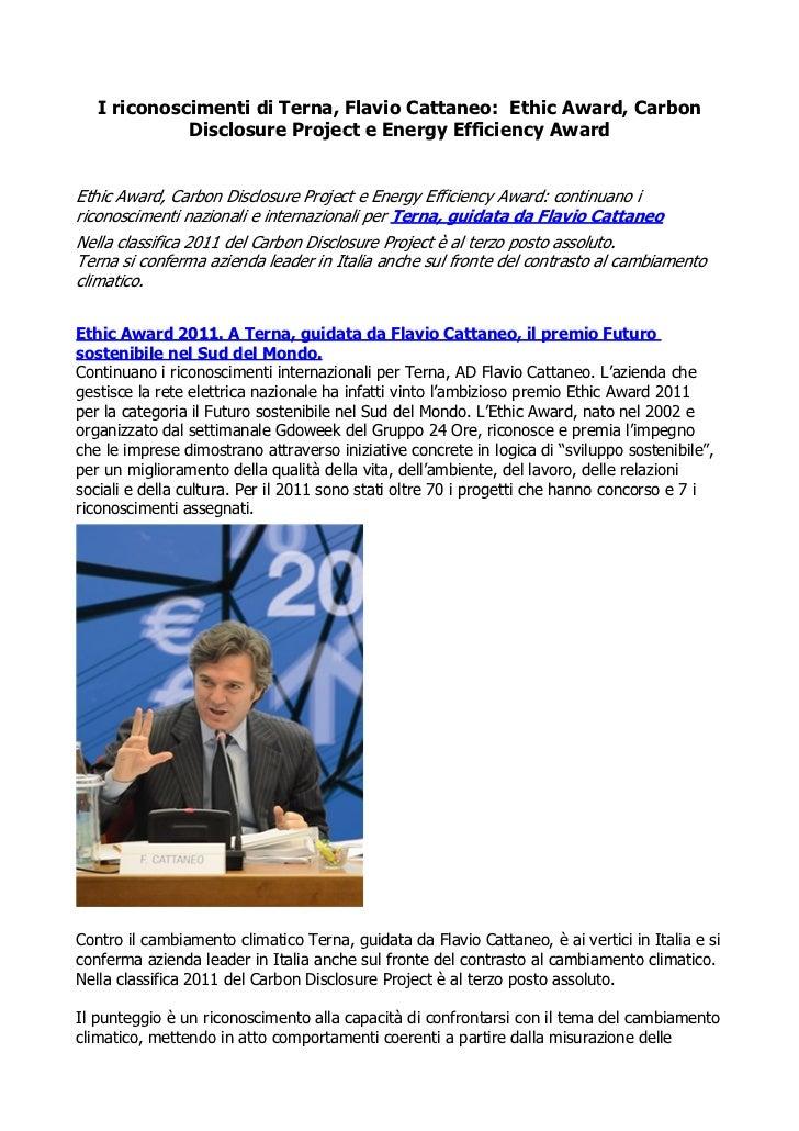 I riconoscimenti di Terna, Flavio Cattaneo: Ethic Award, Carbon             Disclosure Project e Energy Efficiency AwardEt...