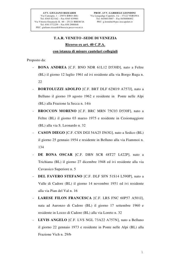 AVV. GIULIANO RIZZARDI                      PROF. AVV. GABRIELE LEONDINI            Via Camogne, 1 – 25074 IDRO (BS)      ...