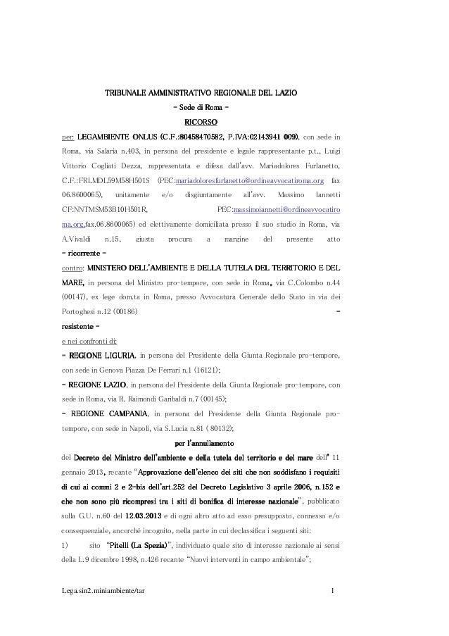 Lega.sin2.miniambiente/tar 1 TRIBUNALE AMMINISTRATIVO REGIONALE DEL LAZIOTRIBUNALE AMMINISTRATIVO REGIONALE DEL LAZIOTRIBU...