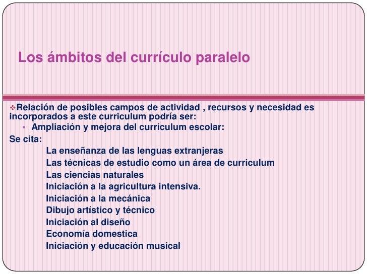 Actividades extraescolares, educacion no formal y curriculum paralelo