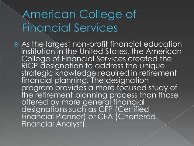 Ricp Designation Offered By The American College Of Financial Services