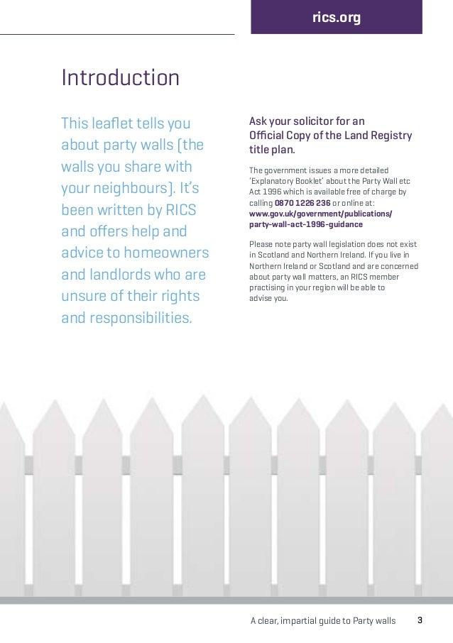 rics party walls guide On party wall act guidance