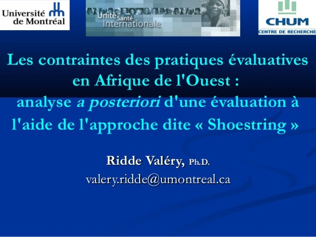 Les contraintes des pratiques évaluatives         en Afrique de lOuest : analyse a posteriori dune évaluation àlaide de la...