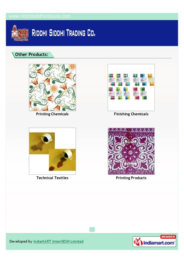Other Products:         Printing Chemicals   Finishing Chemicals         Technical Textiles    Printing Products