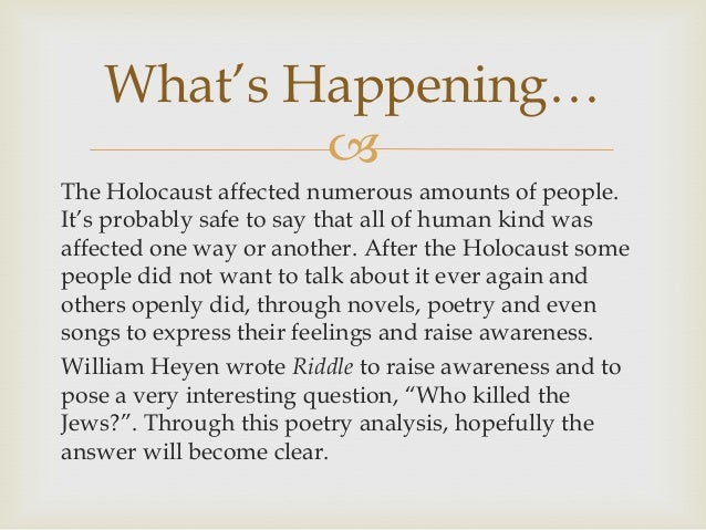 an analysis of holocaust Holocaust is a name that makes history followers to shiver, with a cold sensation running through their spiral cords it is a nine-lettered world, yes, but with a lot of weight to generations of mid-1930s and also it is a name that will not soon escape the memories of many people.